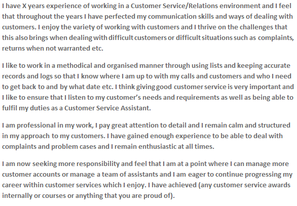 personal statement cv examples customer service