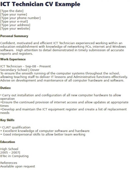 ICT Technician Support CV Example - Learnistorg