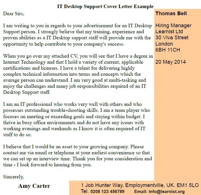 IT Desktop Support Cover Letter Example - Learnistorg