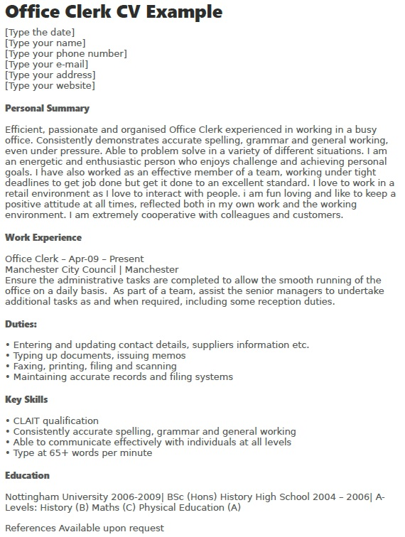 Office Clerk CV Example - Learnistorg