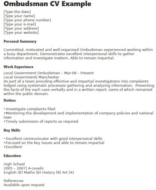 Ombudsman CV Example - Learnistorg