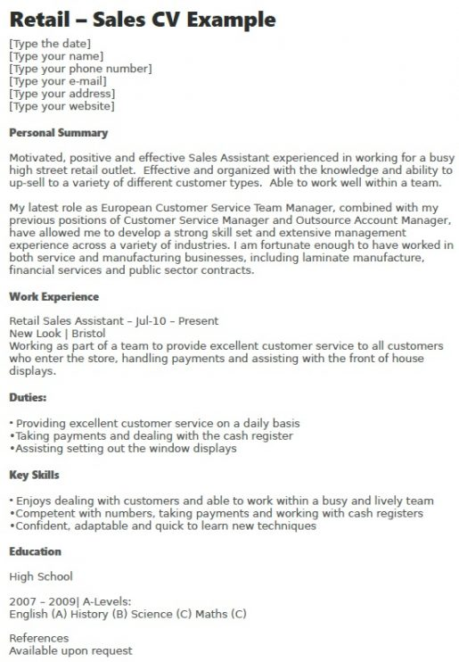 Retail - Sales CV Example - Learnistorg
