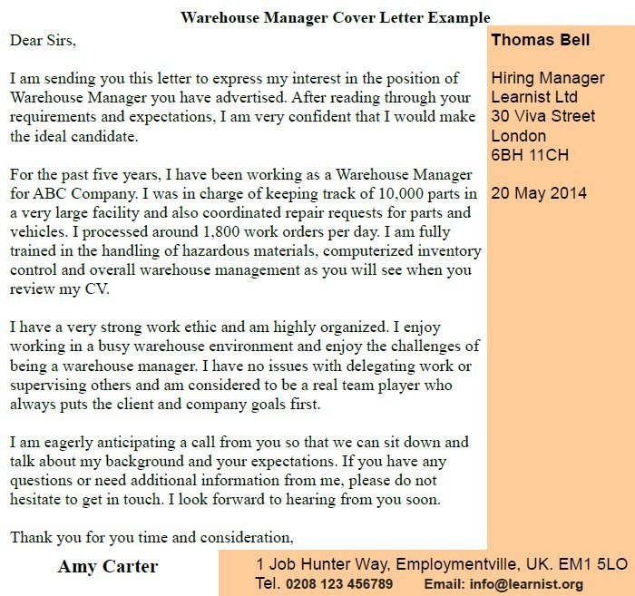 Warehouse Manager Cover Letter Example - Learnistorg