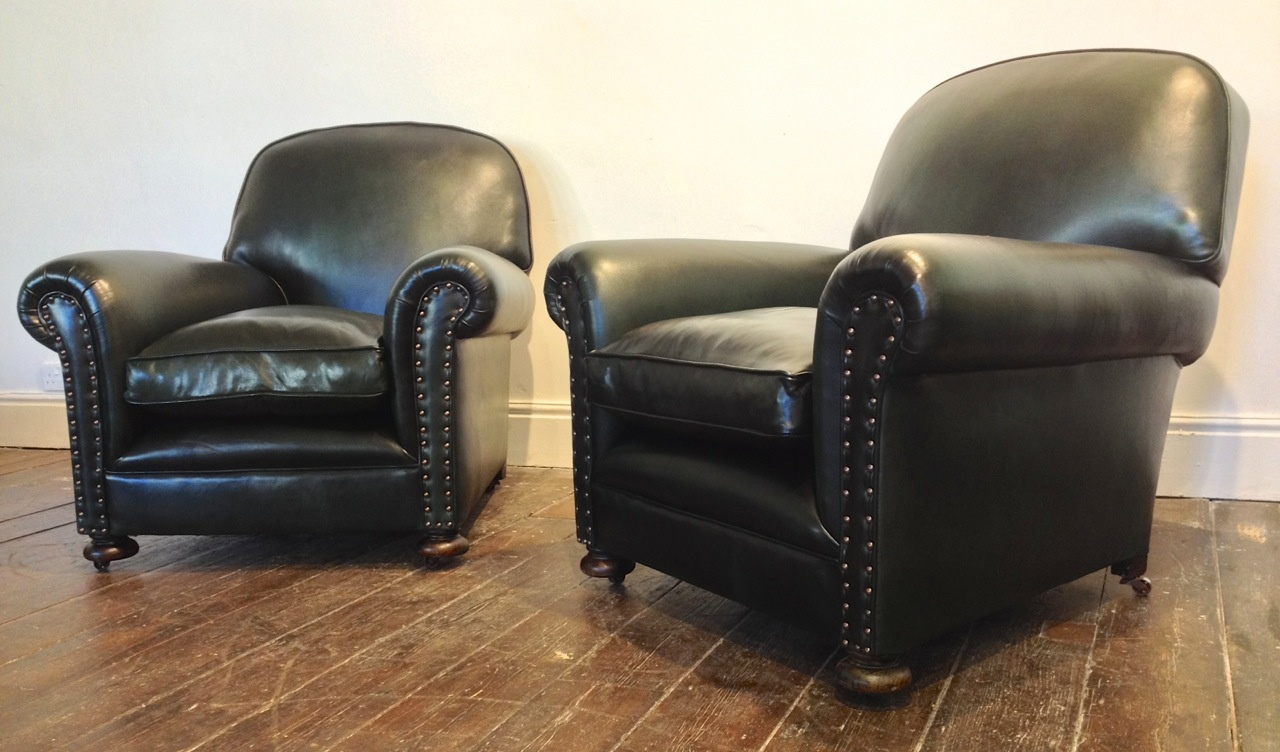 Antique Green Leather Restored Leather Chairs