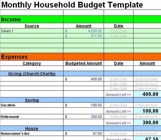 home budget worksheet template - Funfpandroid