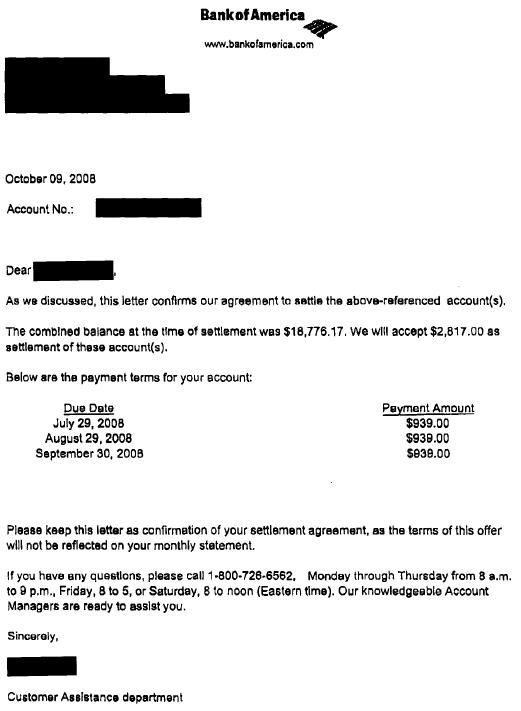 Bank of America Sample Debt Settlement Letter - Leave Debt Behind