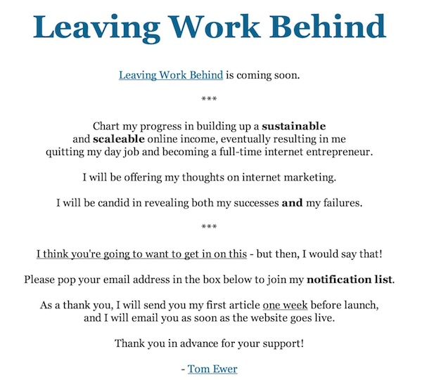 The Leaving Work Behind pre-launch splash page, circa mid-June 2011.