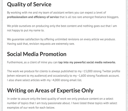 """Hire Me"" page benefits"
