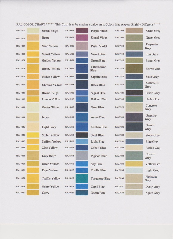 RAL Color Charts - Back Painted Glass - Le Blanc\u0027s Distributing Co