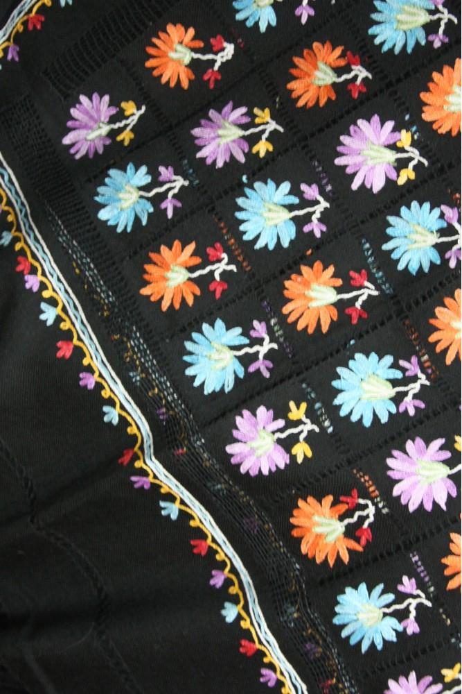 Floating petals macrame ebony shawl