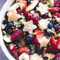 Patriotic Fruit Salad & Honey Lime Poppyseed Dressing
