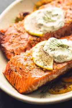 Nice Creamy Lemon Dill Sauce Baked Salmon Baked Salmon Creamy Lemon Dill Sauce Creme De La Crumb Salmon Steak Recipe Fried Salmon Steak Recipe Skillet