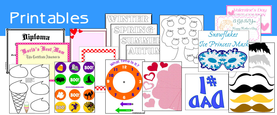 Printable Paper Crafts, Patterns, and Activity Sheets