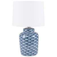 Aimbry Fish Cermaic Table Lamp, Blue & White | Leekes
