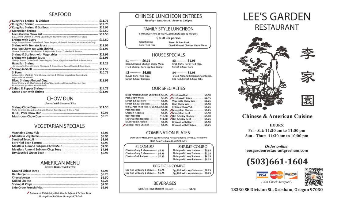 TO GO MENU - LEE\u0027S GARDEN RESTAURANT GRESHAM - restaurant to go menu