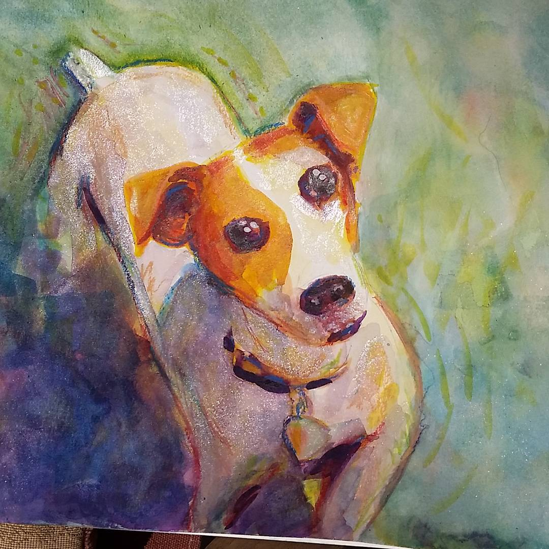 Jack is a high energy terrier. This is a watercolor portrait of him.