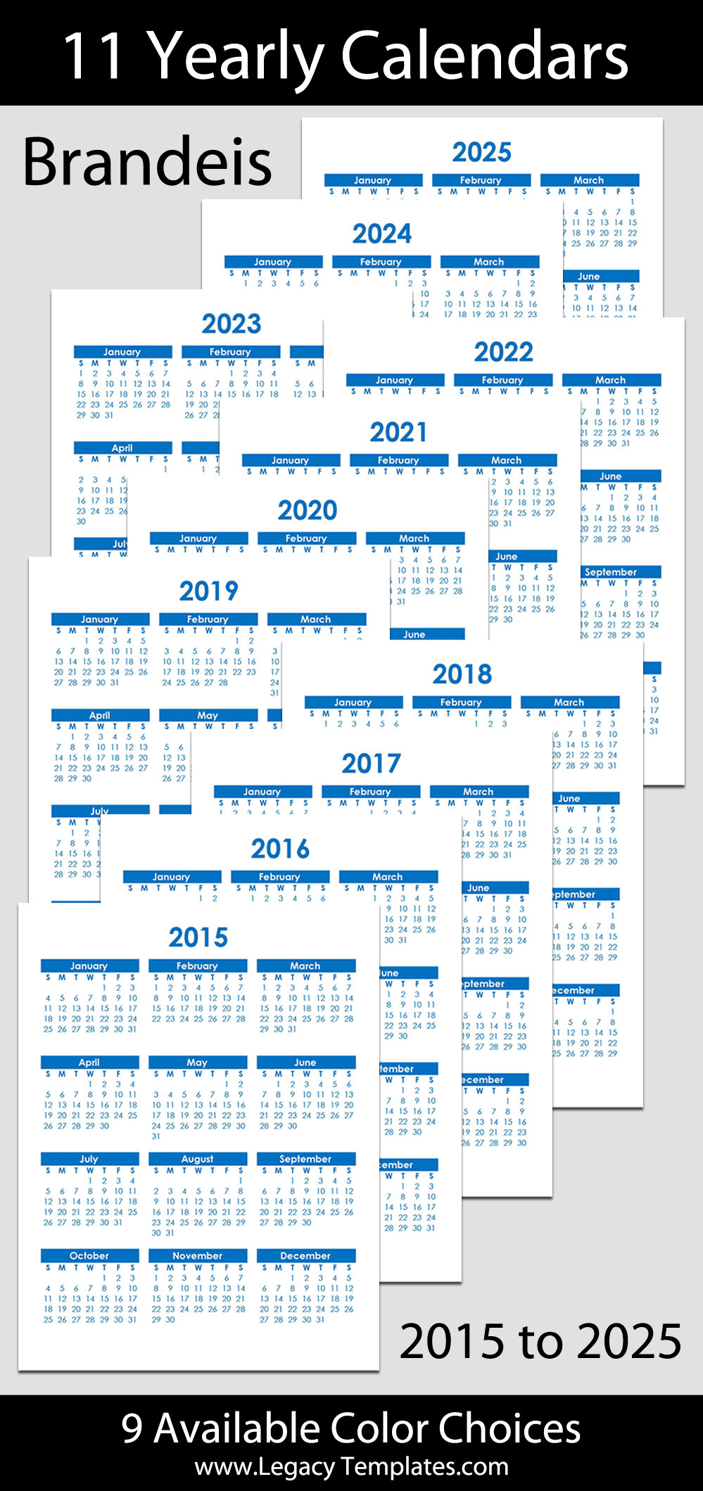 calendars for 2019 and 2015