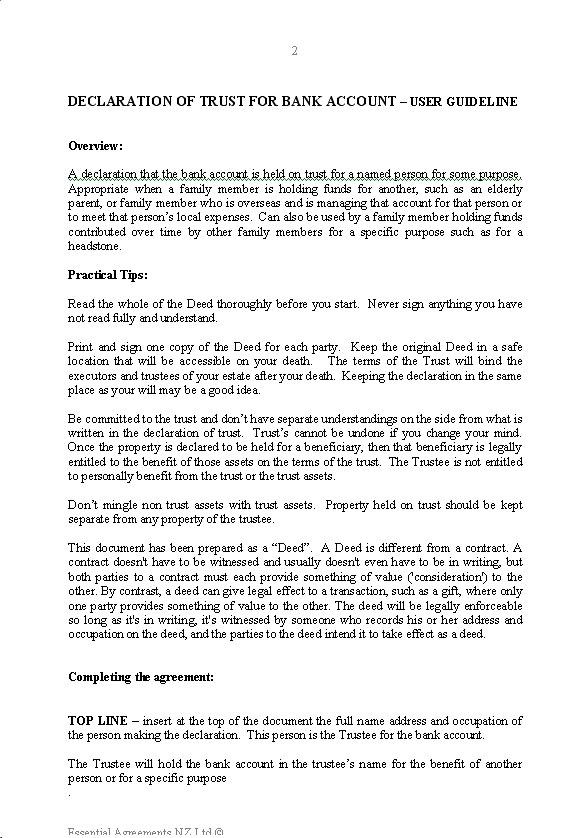 Wills  Trusts \u2013 Trusts New Zealand Legal Documents, agreements - sample deed of trust form