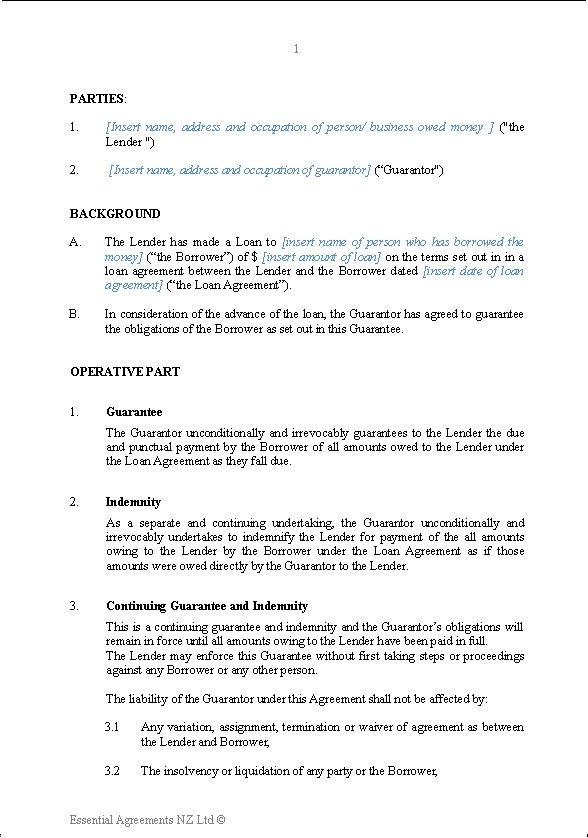 Personal u2013 Guarantees New Zealand Legal Documents, agreements - deed of indemnity