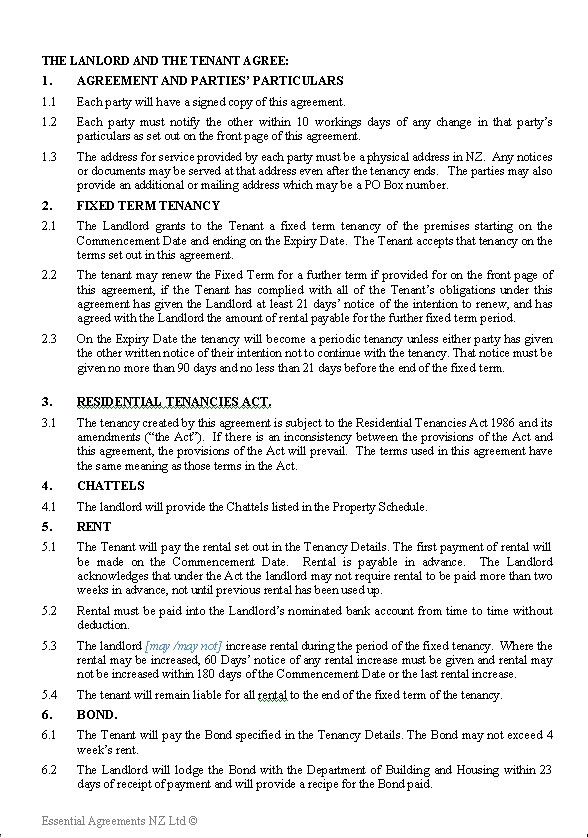 PERSONAL \u2013 Leasing New Zealand Legal Documents, agreements, forms - short term rental contract form