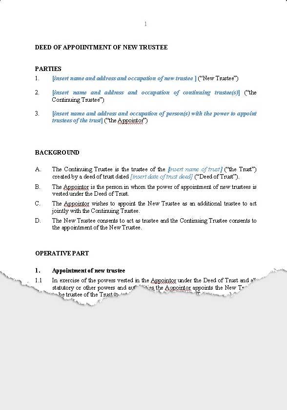 Wills \ Trusts u2013 Trusts New Zealand Legal Documents, agreements - deed of indemnity