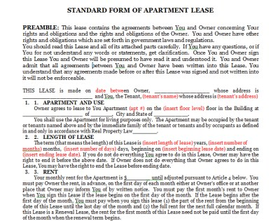 Forms For Lease Agreement - apartment lease agreements