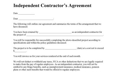 Form For Hiring An Independent Contractor | Sample Customer ...