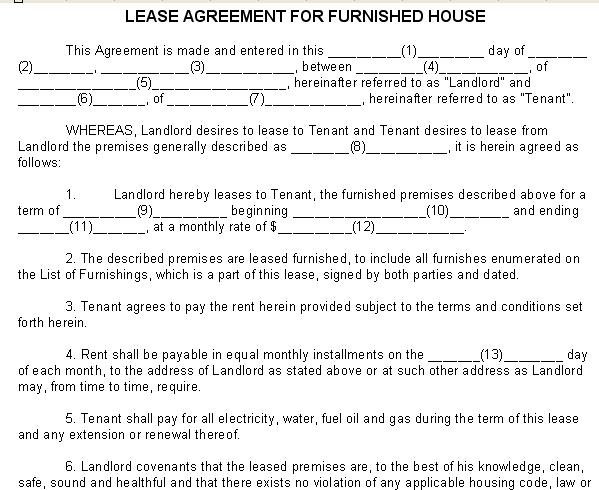 Lease Agreement for Furnished House - Sample Form