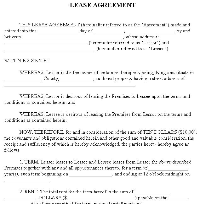 Lease Agreement - Sample Rental Form - rental lease agreement