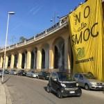 Legambiente presenta il dossier Mal'Aria sul PM10: striscione NO ALLO SMOG e Cigno Nero a Frosinone