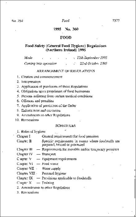 The Food Safety (General Food Hygiene) Regulations (Northern Ireland