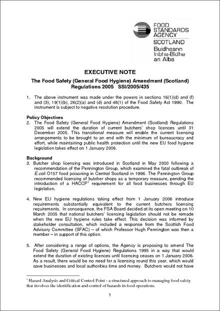 The Food Safety (General Food Hygiene) Amendment (Scotland
