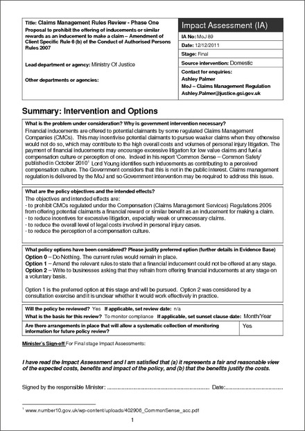 MoJ Impact Assessment Template (Guidance only) - Impact Assessment