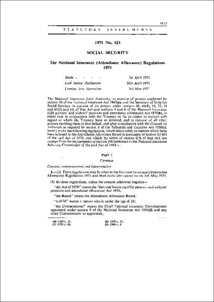 National Insurance (Attendance Allowance) Regulations 1971 - attendance allowance form