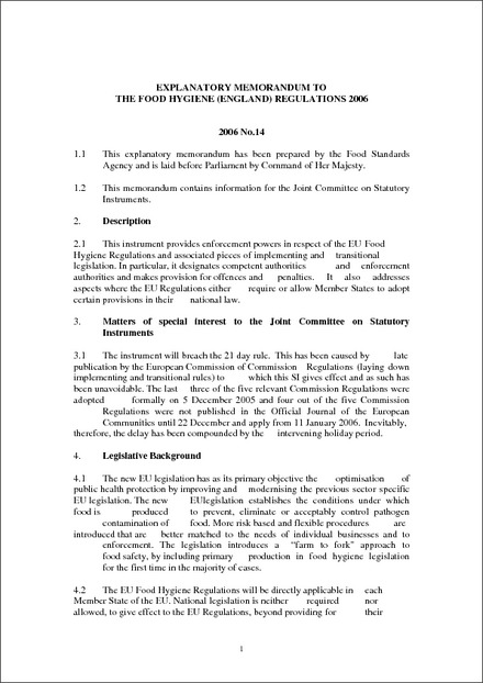 The Food Hygiene (England) Regulations 2006 - Explanatory Memorandum