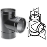 DuraBlack Tee with Clean-Out Cap Wood Stove Pipe, Stove ...