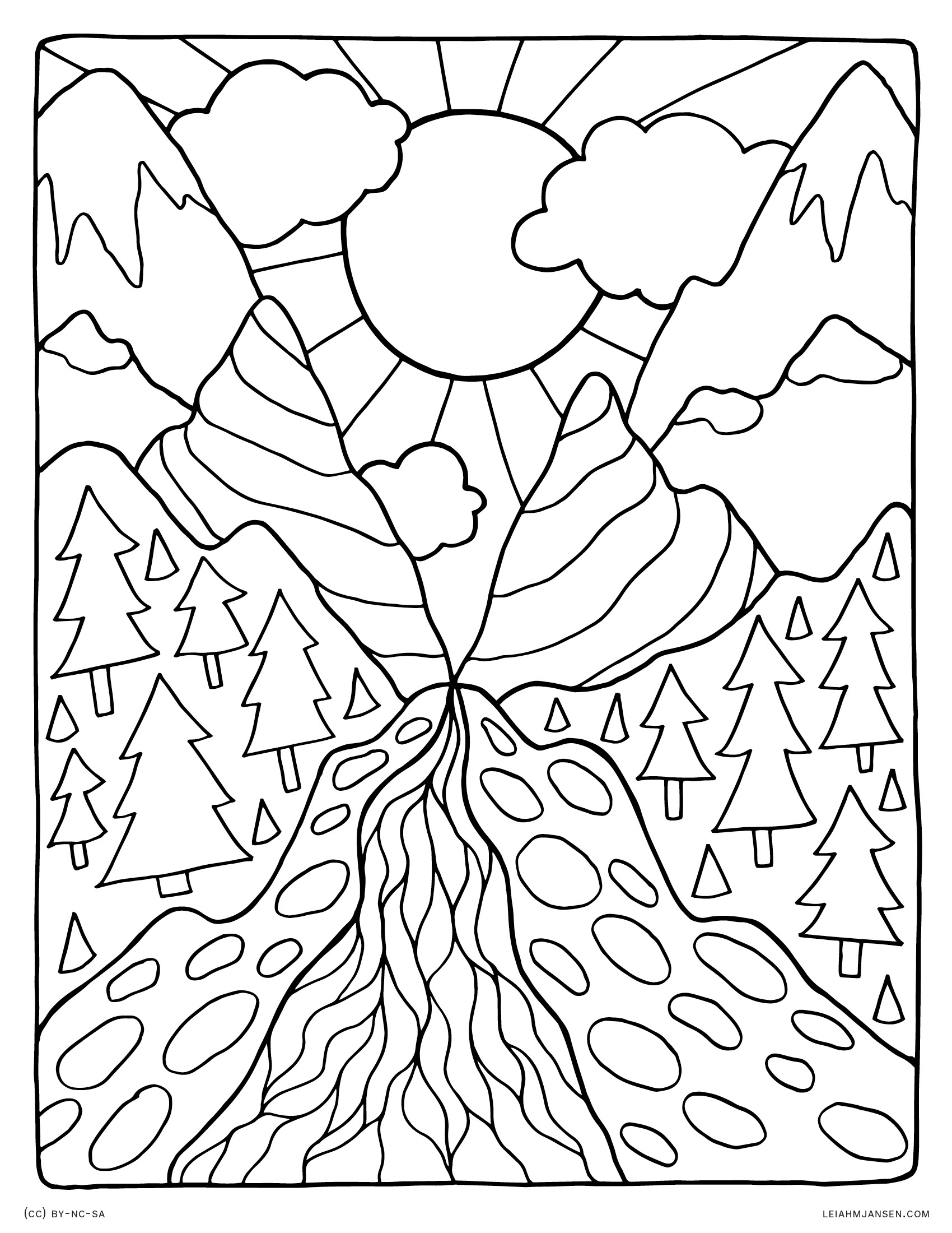 Printable coloring pages landscapes -  Landscape Peaceful Nature Scene Free Printable Coloring Page Download