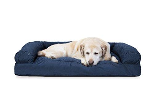 Furhaven Pet Quilted Pillow Sofa Pet Bed Navy Jumbo