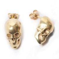 Skull Stud Earrings - Gold - LEIVANKASH - Jewellery