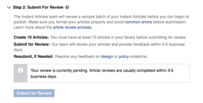 Facebook Instant Articles submit for review