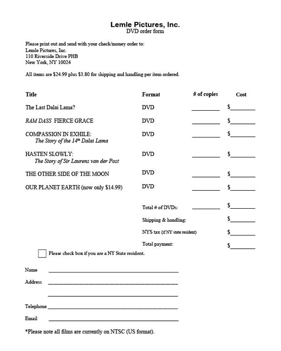 Purchase DVDs - money order form