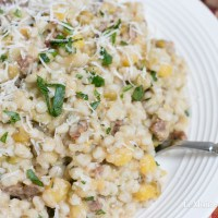 Barley with Sausage, Lentils & Split Peas