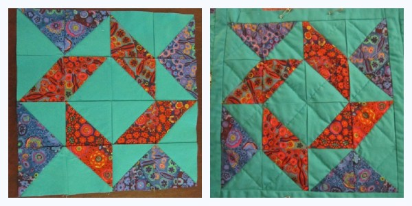Pieced block on the left, quilted block on the right