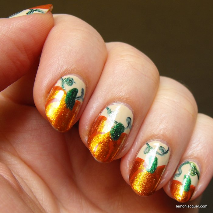 Nail art october pumpkins lemon lacquer shiny pumpkin nail art prinsesfo Choice Image