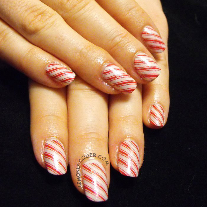 candy cane stamping with flakie topcoat