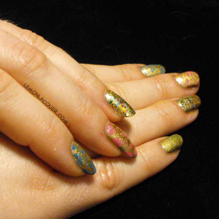 birthday nails in gold with glitter and cupcakes stamping