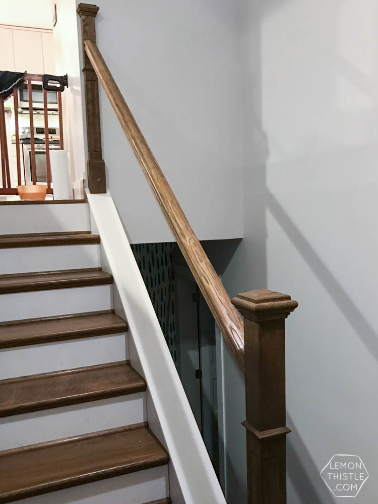 How To Install A Wooden Handrail On Split Level Stairs - Lemon Thistle