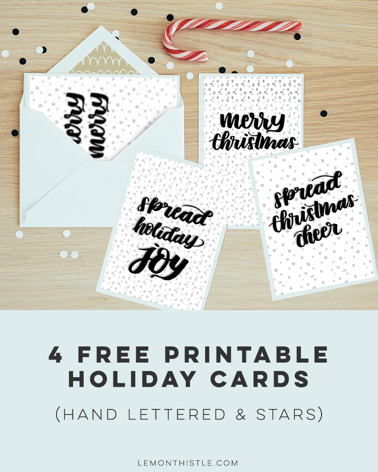 Modern Handlettered Holiday Cards- 4 Free Printables - Lemon Thistle
