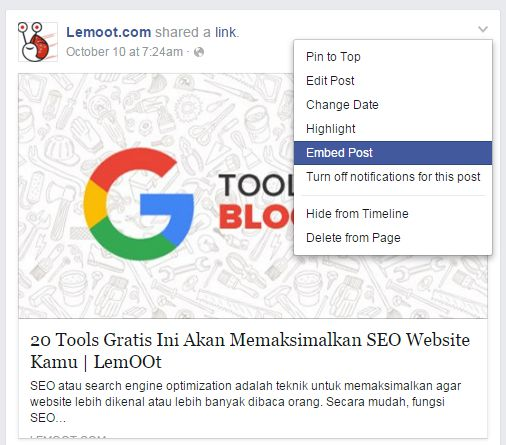 Cara enved post dari facebook ke blog