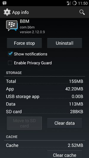 Force Stop, Hapus Data dan Cache BBM